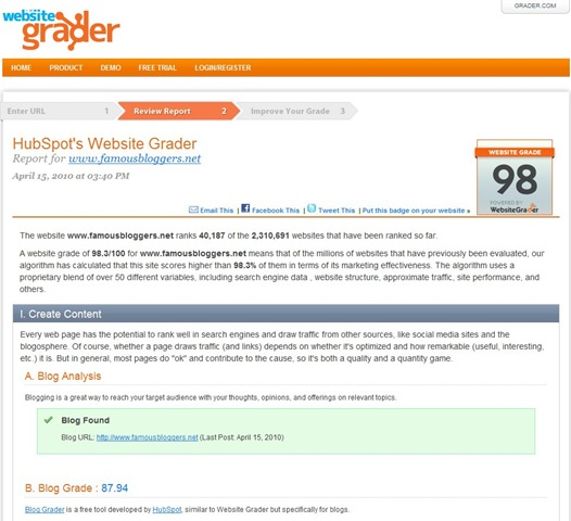 Get Your Website Graded by Website Grader