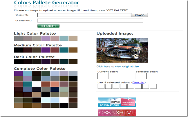 CSS Drive-Imageto Colors Palette Generator