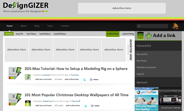 DesignGizer Social Bookmarking for Designers