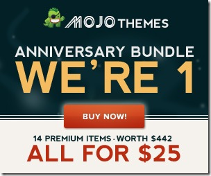 MOJO Themes is offering a $442 in products in one bundle for only $25 and its only for a limited time!