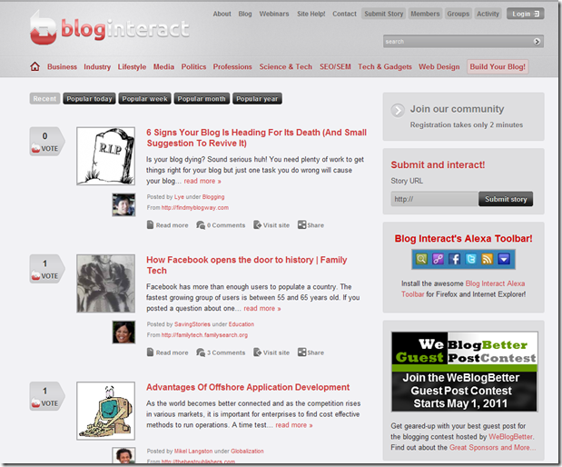 Build traffic back to your site by using social bookmarking