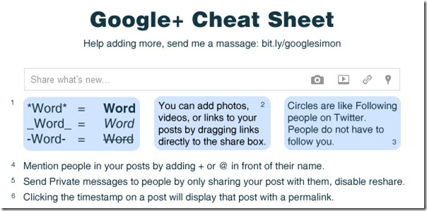 Google Plus Network Cheat Sheet
