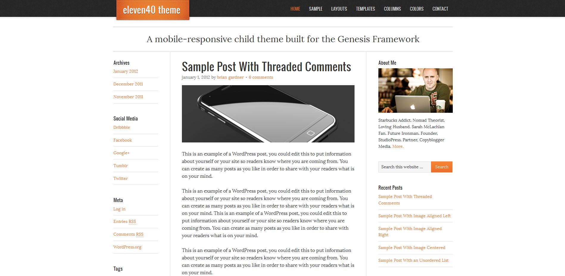 Premium Responsive WordPress Theme by StudioPress