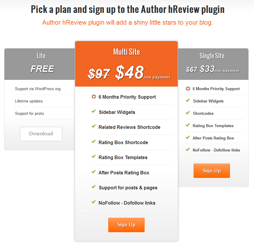 Author hReview Pricing Plans