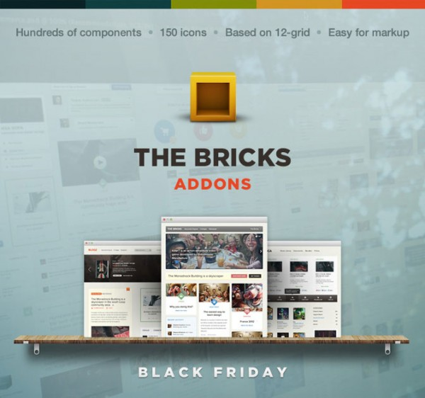 83% off the Bricks - user interface components and element package by Designmodo - Black friday Deal