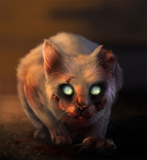 Digital Painting Lesson: Paint a Scary Zombie Cat Using Photo Reference