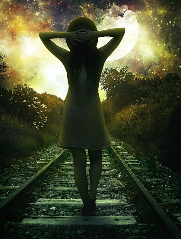 Create This Gorgeous Moonlight Poster of a Girl Walking on a Railway