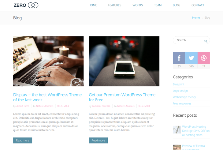 Zero – Multipurpose WordPress Themes by TelsaThemes