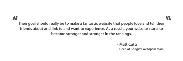 Matt Cutts quote about building website ranking