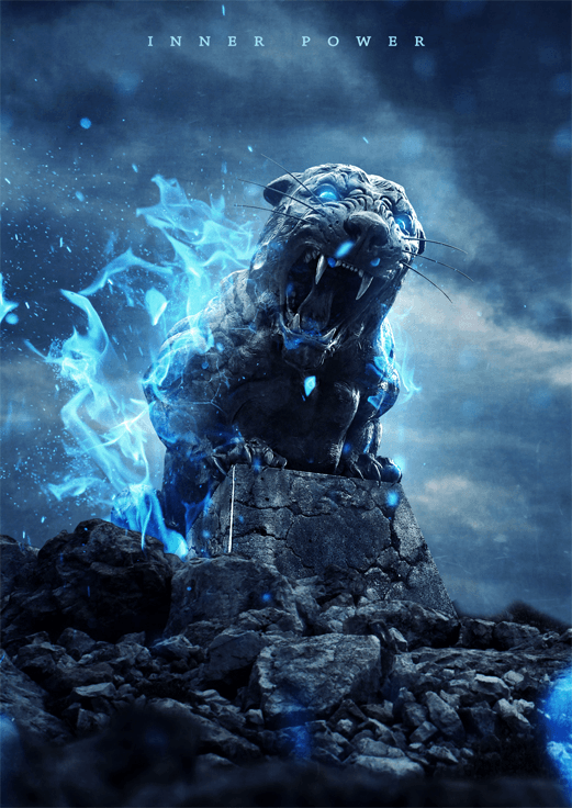 How to Create an Intense Composite of a Stone Tiger with Blue Flames