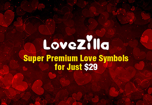 Valentine's Day Premium Design Resources – LoveZilla: Super Premium Love Mega Set with an Extended License & Bonus – Only $29