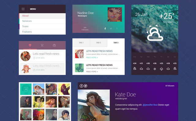 Freebie: Flat design UI kit by TeslaThemes