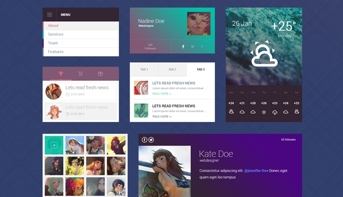 Flat design UI kit by TeslaThemes