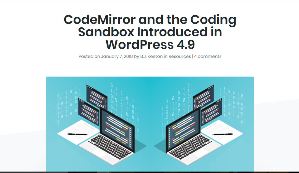 WordPress 4.9 Adds CodeMirror and the Coding Sandbox the WordPress Core Code