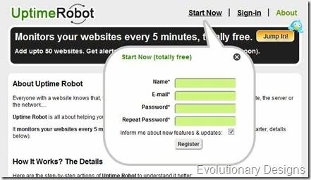 Uptime Robot Sign Up Form